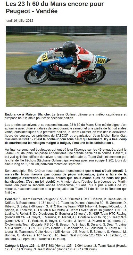 Ouest France :16 Juillet 2012